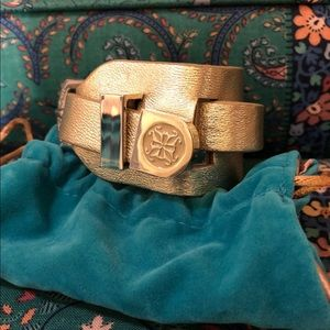 Rustic Cuff Gold Leather Wrap